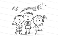 Kids singing together, variant with cartoon hands Product Image 2