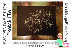 Sketch Season's Greetings | Foil Quill SVG | Sketch File SVG Product Image 1