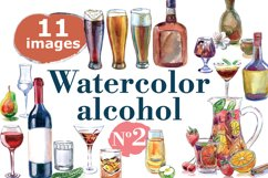 Watercolor alcohol-2 vector set Product Image 1