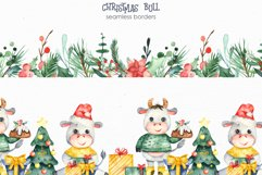 Christmas bull Watercolor Clipart Product Image 3