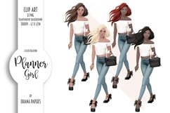 Planner Girl Clipart, Boss Lady Girly Fashion Illustration Product Image 1