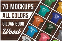 Wooden Background 70 Color Gildan Tshirt Mockup Bundle Product Image 1