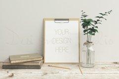 Stationery mockup, Smart object PSD file , wooden desk mockup, 8x10 art template Product Image 1