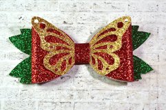 4 Hair bow template SVG, Butterfly faux leather bow template Product Image 2