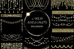 Gold Bokeh String Fairy Lights Overlays PNG Clipart Product Image 1