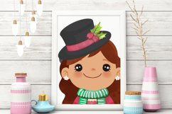 Cute Christmas Clipart, Merry Christmas Girls Clipart Product Image 2