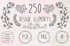 Hand Sketched Vintage Decorative Doodle Design Elements. Product Image 1