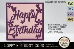Floral Happy Birthday Card SVG - Birthday Card Cutting File Product Image 2