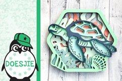 Sea turtle layered multi layer mandala sea nautical 3d svg Product Image 4