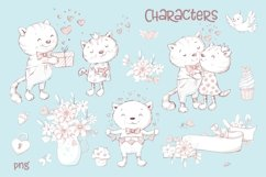Valentines Day Clipart Cute Cat Product Image 1