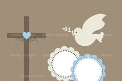 Boy Baptism Digital Papers, Cross Dove Clipart, Product Image 2
