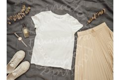 White t-shirt mock up, copy space for print design Product Image 1