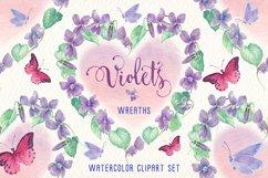 violets flowers watercolor clip art set Product Image 3