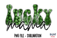 Retro St Patrick's Day Sublimation PNG, Lucky Mama Product Image 1