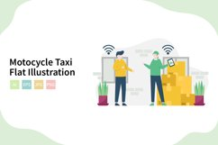 Online Motocycle Taxi Flat Vector Illustration Product Image 1
