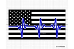 Heartbeat American Flag SVG, Police SVG, Back the blue svg Product Image 1