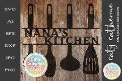 Nana's Kitchen Sign SVG Cut File Kitchen Utensils Product Image 1