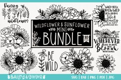 Sunflower and Wildflower SVG Bundle   Floral Line Art Product Image 1