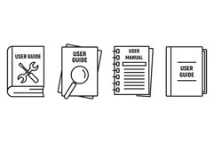 User guide book icons set, outline style Product Image 1