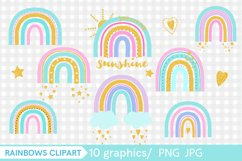 Golden rainbow with glitter clip art PNG, Product Image 2