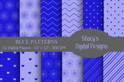 Blue Patterns - 12 Digital Papers Product Image 1