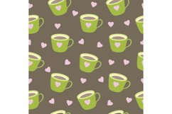 Seamless pattern brown mug with coffee cup. Product Image 1