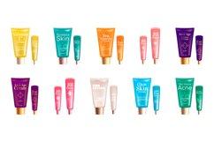 Moisturising cream realistic product vector designs set Product Image 1
