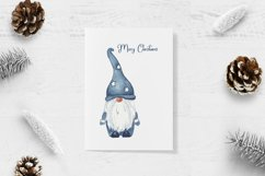 Watercolor Scandinavian navy blue gnome clipart Product Image 3