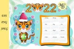 Cute Tiger Wall Calendar Template for 2022, Year of Tiger Product Image 1