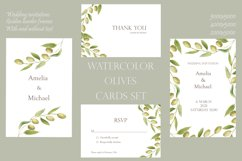 Watercolor green olives wreath and golden frames, wedding in Product Image 1