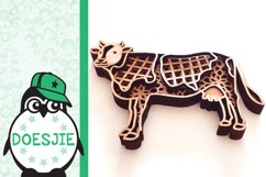 Cow farm animal 3d svg model multi layer mandala layered Product Image 4