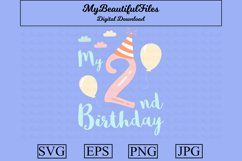 2nd Birthday SVG - birthday SVG, EPS, PNG and JPG Product Image 1