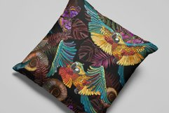 Tropical parrots, butterflies and palm leaves Product Image 3