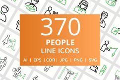 370 People Line Green & Black Icons Product Image 1