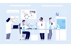 Scientists in lab. People in white coat, chemical researcher Product Image 1
