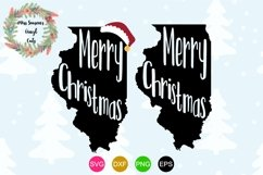 Merry Christmas Illinois State Outline Product Image 1