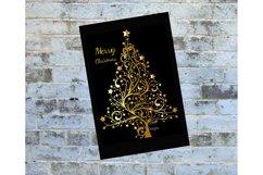 Digital Christmas Card, Printable Digital Christmas Card, Card, Black and Gold Christmas Card, Happy Holidays Card, Instand Download Card Product Image 1