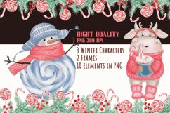 Watercolor Christmas Clipart. Christmas Bull. Snowman. PNG Product Image 6