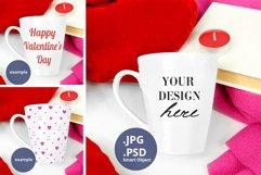 Latte Mug Mockup Valentine's Day PSD & JPG full wrap mockup Product Image 1