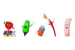 Set of Thirteen Cartoon School Supplies Character Product Image 3