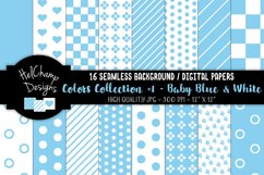 16 seamless Digital Papers - Baby Blue and White - HC058 Product Image 1