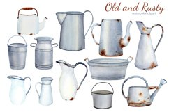 Watercolor Rustic Farmhouse Clipart. Vintage French country Product Image 2