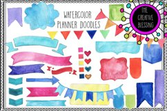 Watercolor Planner Doodles Clipart Product Image 1