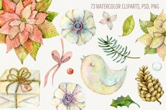 Watercolor cliparts of Christmas elements and flowers Product Image 2