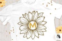 Sunflower SVG Clipart Floral SVG Sunflower Monogram Split Product Image 2