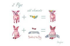 Year of the Pig Clipart, Chinese Year Watercolor Clipart Product Image 3