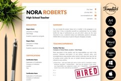Teacher Resume CV Template for Word & Pages Nora Roberts Product Image 1