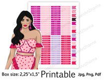 """Galentine's Day Printable Sticker Box Size 2,25""""x1,5"""" Product Image 2"""
