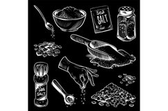 Sea salt. Hand drawn spice collection, salting crystals, bot Product Image 1