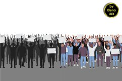 Protesting people with hands up seamless borders set Product Image 1